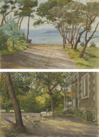 Juan les Pins, Côtes d'Azur; and A garden with tables