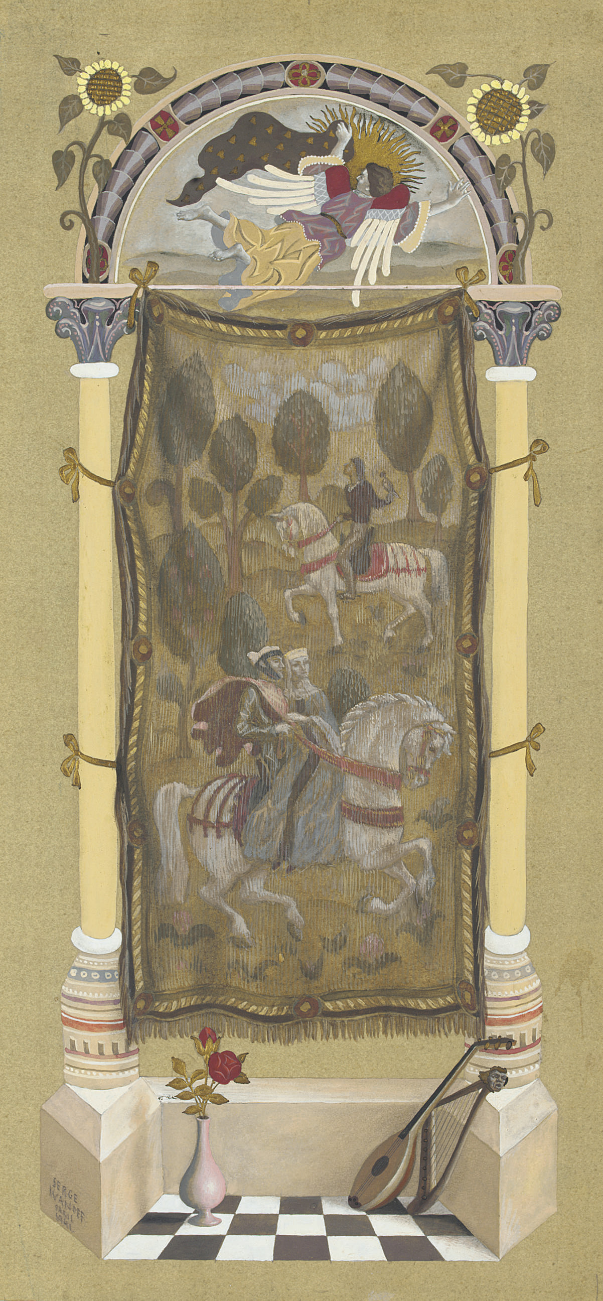 A tapestry hanging between decorative columns