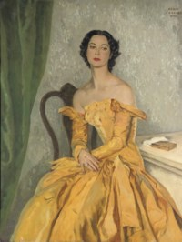 Portrait of Simone Gentile in a yellow gown