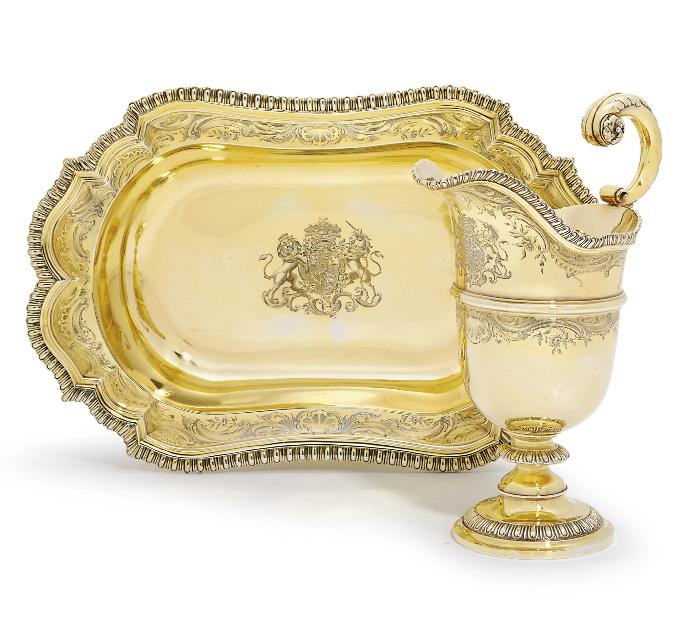 A GEORGE IV ROYAL SILVER-GILT EWER AND BASIN