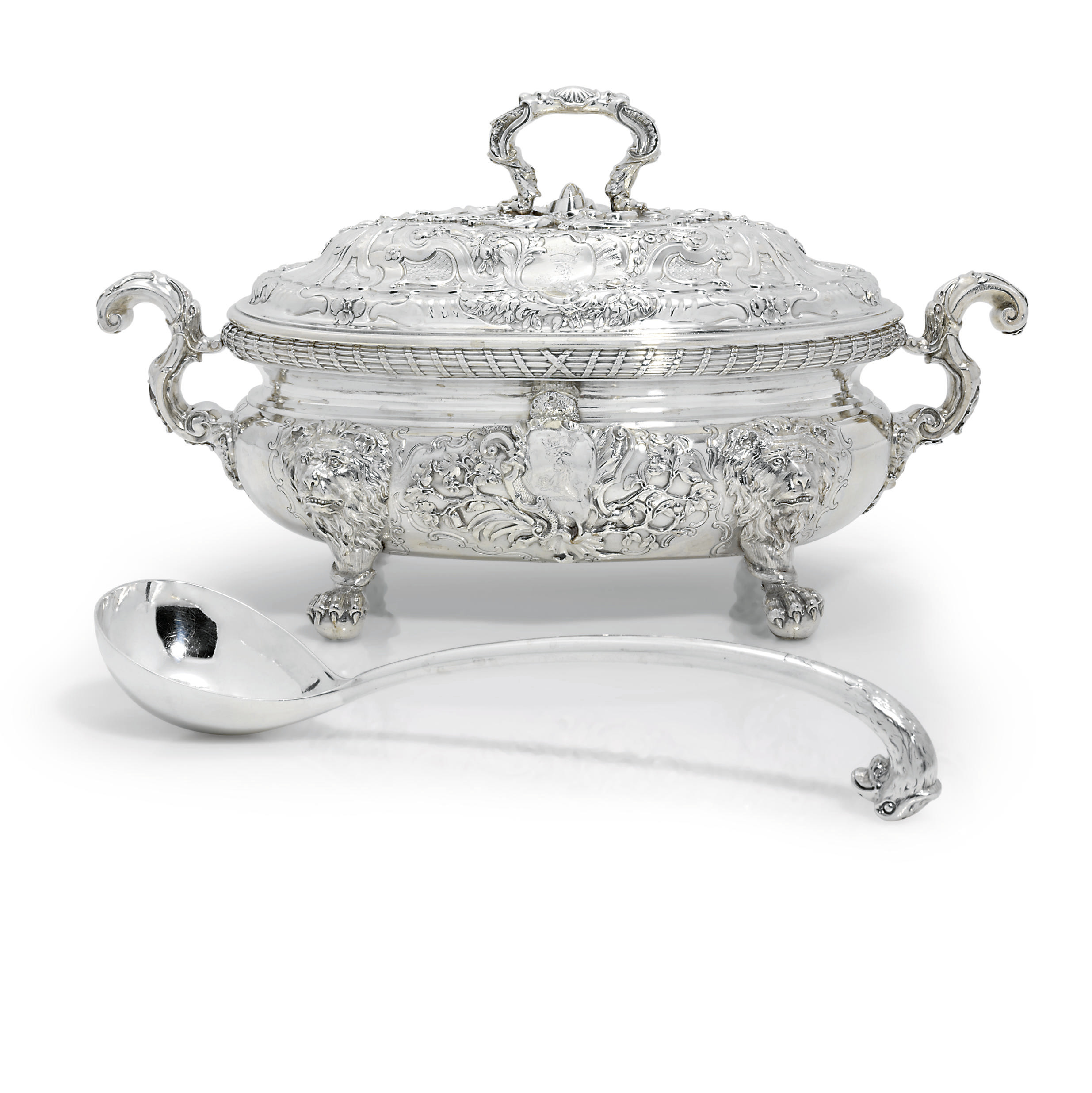 A GEORGE II SILVER SOUP-TUREEN AND COVER WITH AN ASSOCIATED LADLE