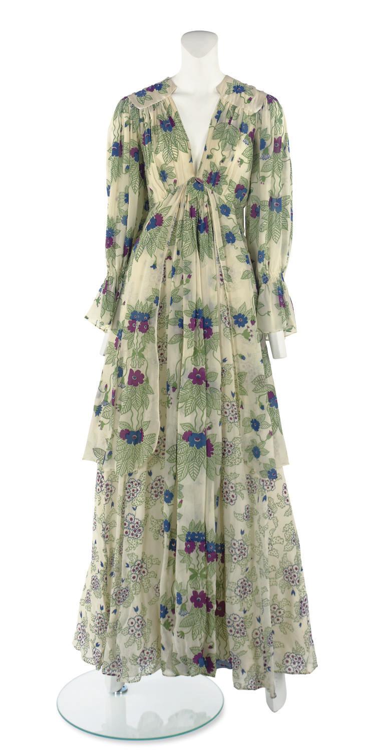 OSSIE CLARK (1942-1996) & CELIA BIRTWELL (B.1941) A LONG-SLEEVED DAY DRESS