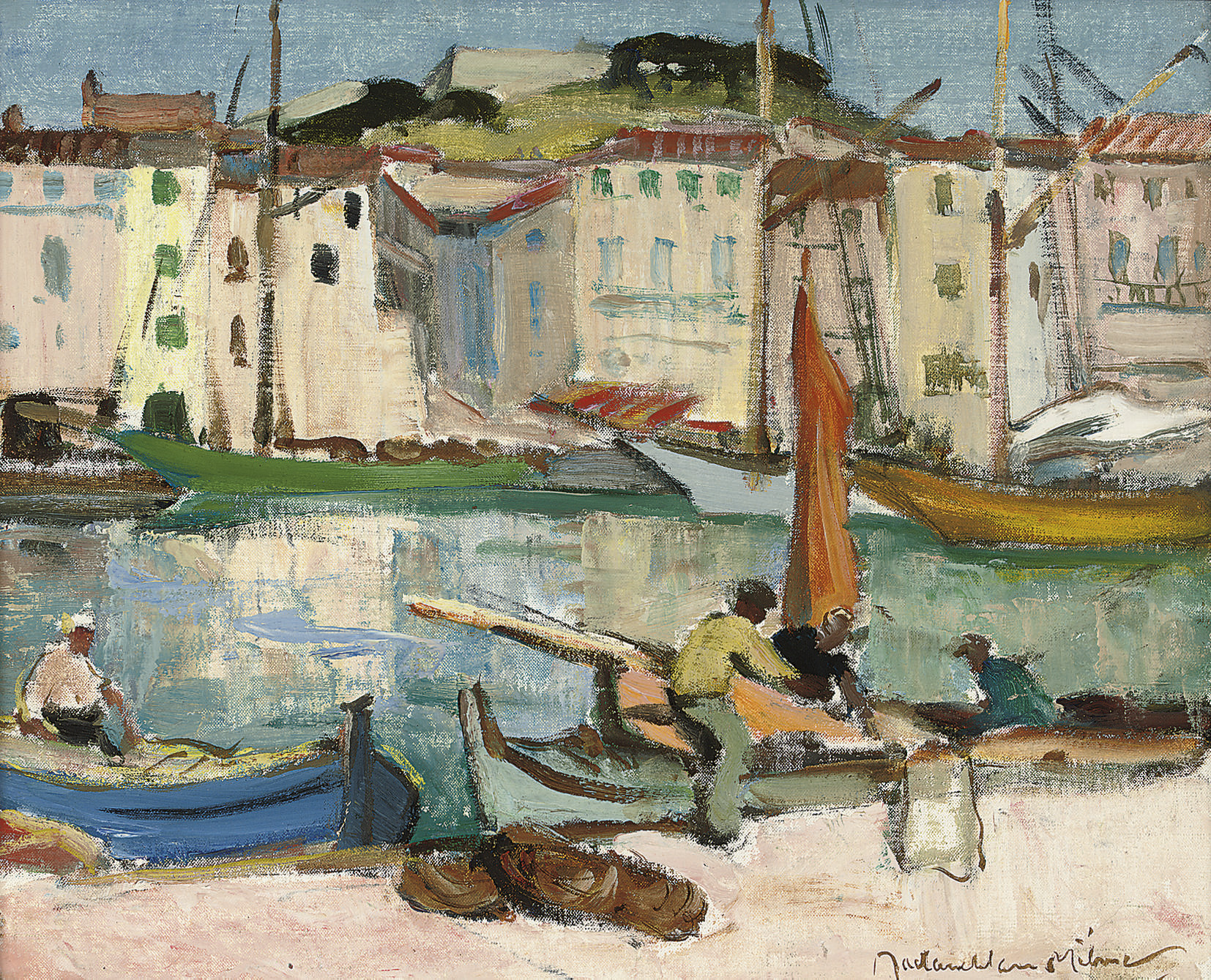 Fishing boats by a quay