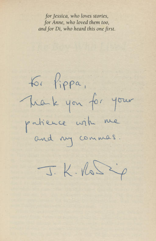 """ROWLING, J. K.  Harry Potter and the Philosopher's Stone. [London:] Bloomsbury, 1997. 8°. Half title. Original stiff pictorial wrappers by Thomas Taylor. FIRST PAPERBACK EDITION, PRESENTATION COPY, the dedication leaf inscribed, """"For Pippa, Thank you for your patience with me and my commas. J. K. Rowling."""""""