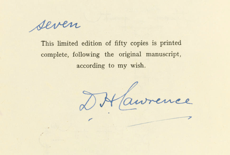 LAWRENCE, D. H. (1885-1930).