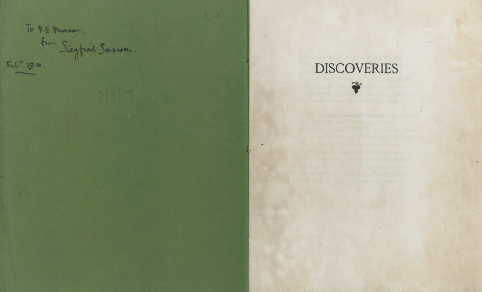"SASSOON, Siegfried (1886-1967).  Discoveries. [London: Chiswick Press] ""Printed for Siegfried Sassoon,"" 1915. 4° (225 x 180mm). 8 leaves, printed on Van Gelder Zonen (some light staining and browning, particularly to first and last leaves). Original green printed wrappers, stitched (a few nicks). FIRST EDITION, ONE OF 50 COPIES, PRESENTATION COPY, the inner wrapper inscribed, ""To F. E. [?]Murray from Siegfried Sassoon, Feb. 7, 1916."" Keynes A11."
