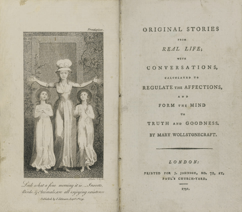 WOLLSTONECRAFT, Mary (1759-97).  Original Stories from Real Life; with Conversations, calculated to regulate the affections, and form the mind to truth and goodness. London: J. Johnson, 1791. 12° (174 x 100mm). Engraved frontispiece and 5 plates by William Blake, one-page of publisher's advertisements at the end (a few short tears or nicks without loss, some spotting to D2v and D3r, some very light spotting and staining). Contemporary calf (rebacked, rubbed and scuffed).