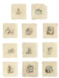 An incomplete set of eleven table mat illustrations from 'The Tale of Peter Rabbit'