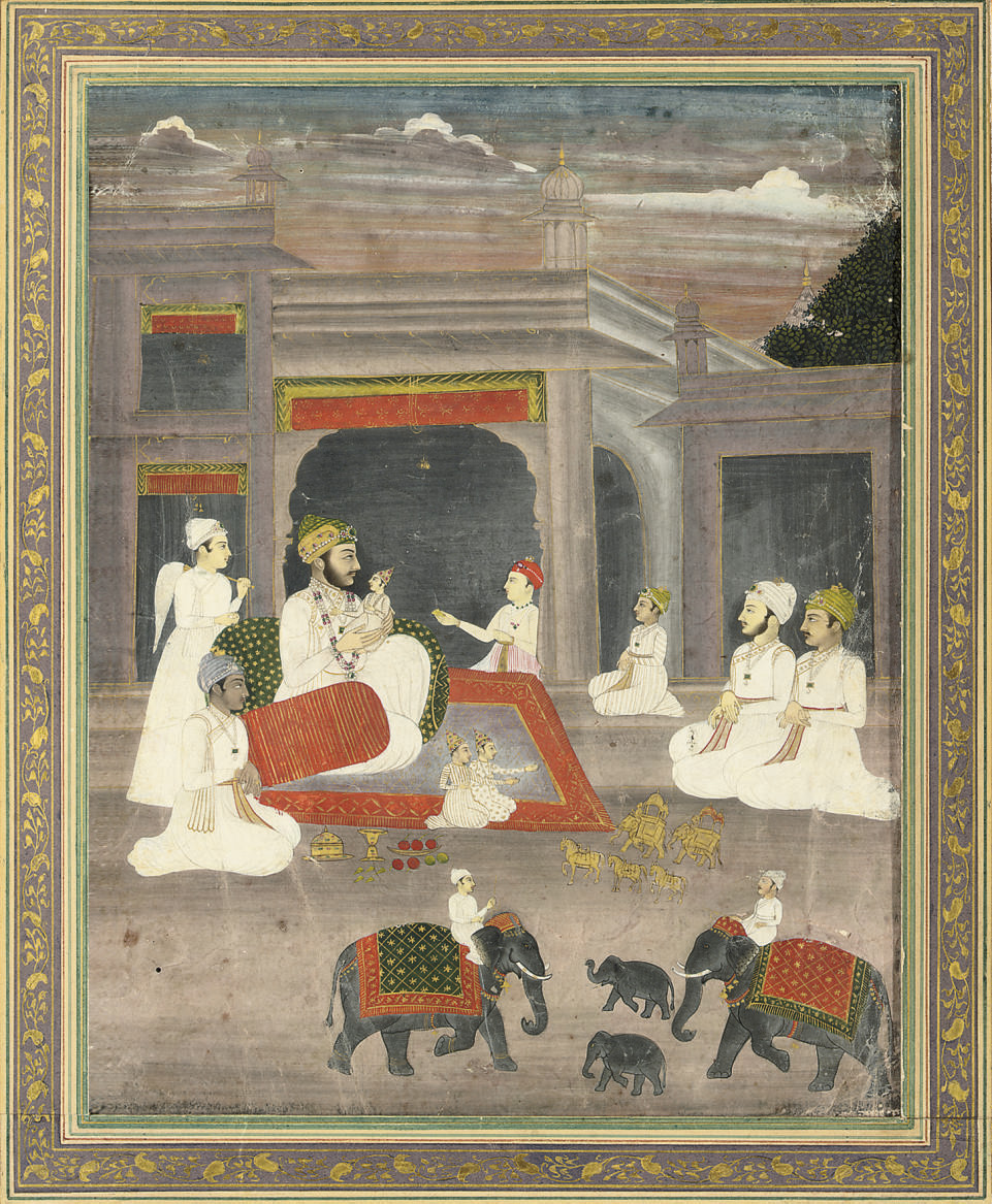 A MUGHAL RULER AND HIS SONS, C