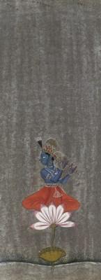 KRISHNA FLUTING ON LOTUS, BIKA