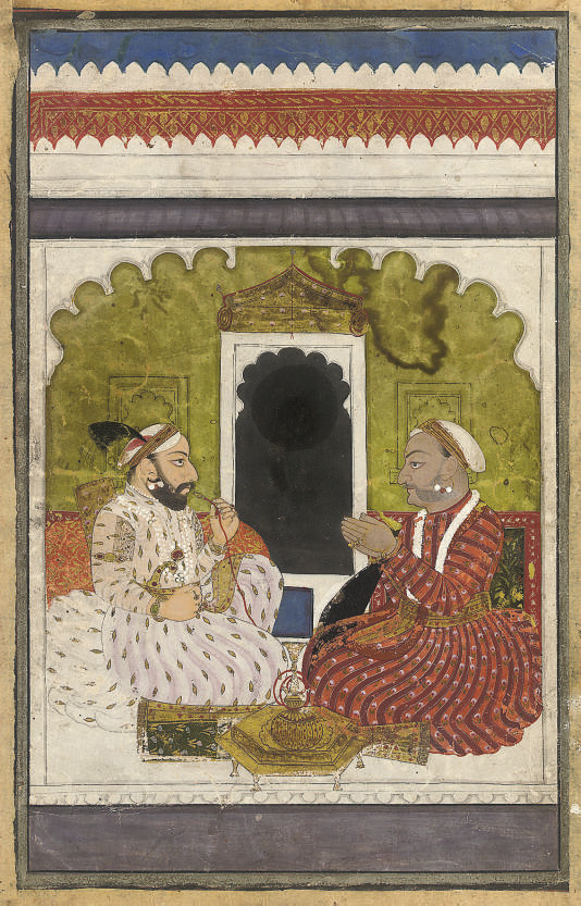 TWO NOBLEMEN SMOKING TOGETHER,