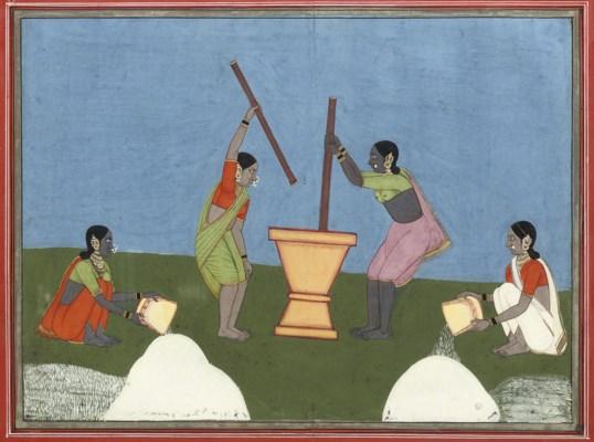 WOMEN WASHING RICE, TANJORE, C