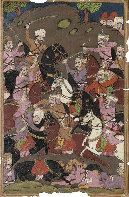A BATTLE SCENE, INDIA, 19TH CE