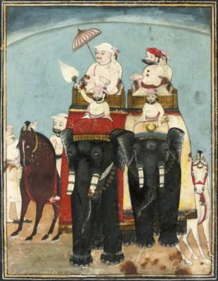 AN ELEPHANT PROCESSION, KOTAH,