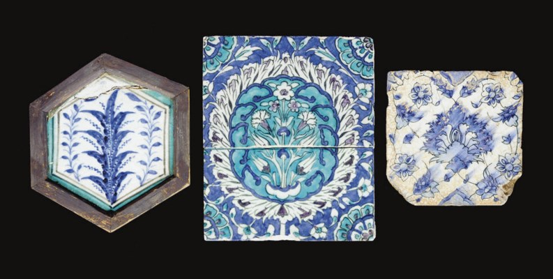 A GROUP OF THREE TILES, SYRIA,