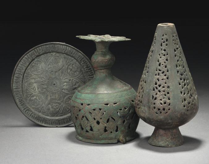 THREE KHORASAN BRONZES, IRAN,