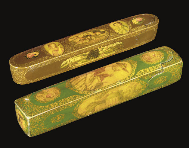 TWO QAJAR RUSSIAN TYPE LACQUER
