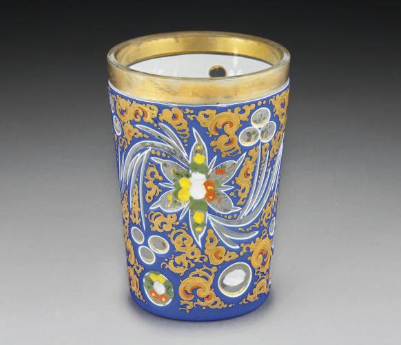 A BOHEMIAN BLUE CUT GLASS VASE