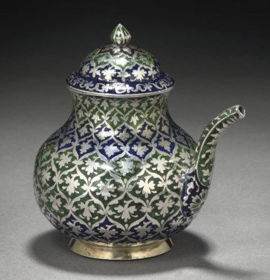 A MUGHAL ENAMEL AND SILVER LID
