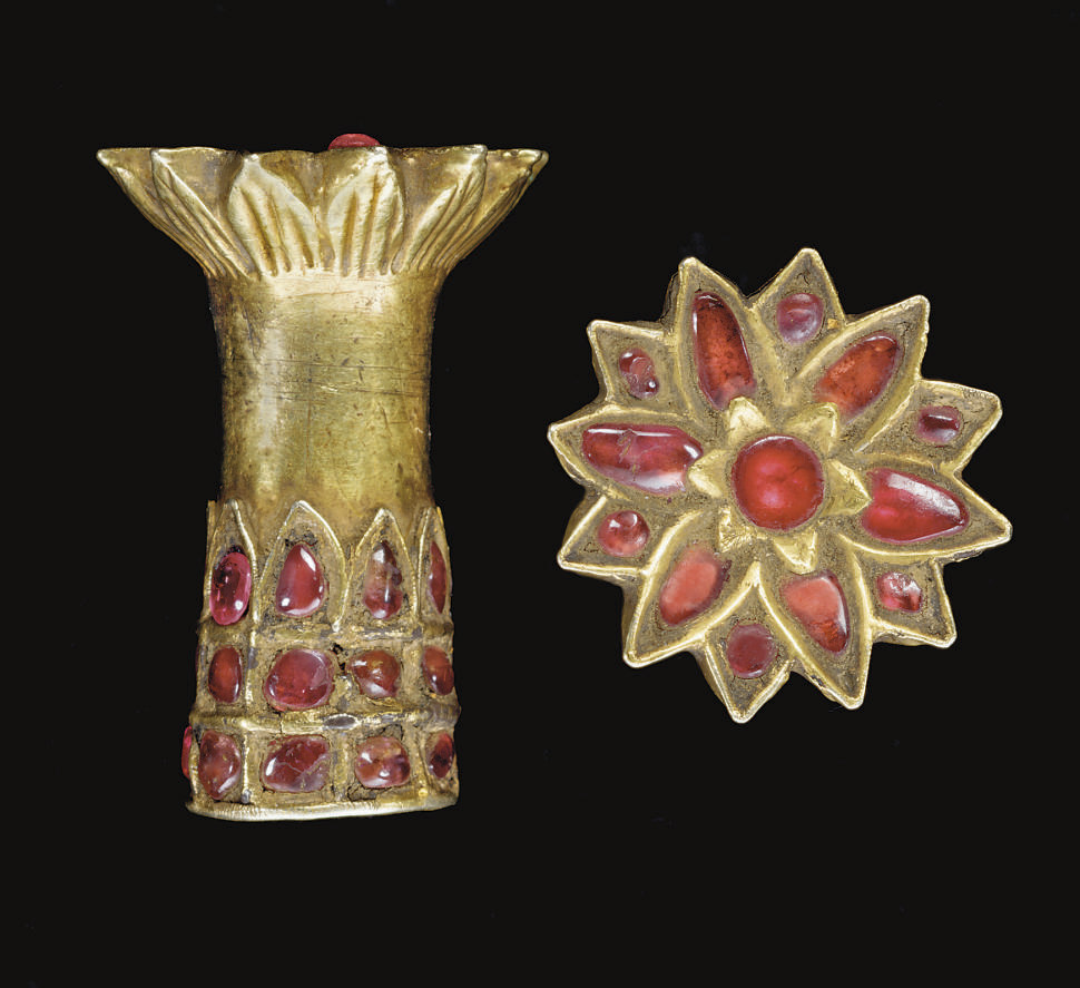 A PAIR OF ASSAM GEM-SET GOLD E