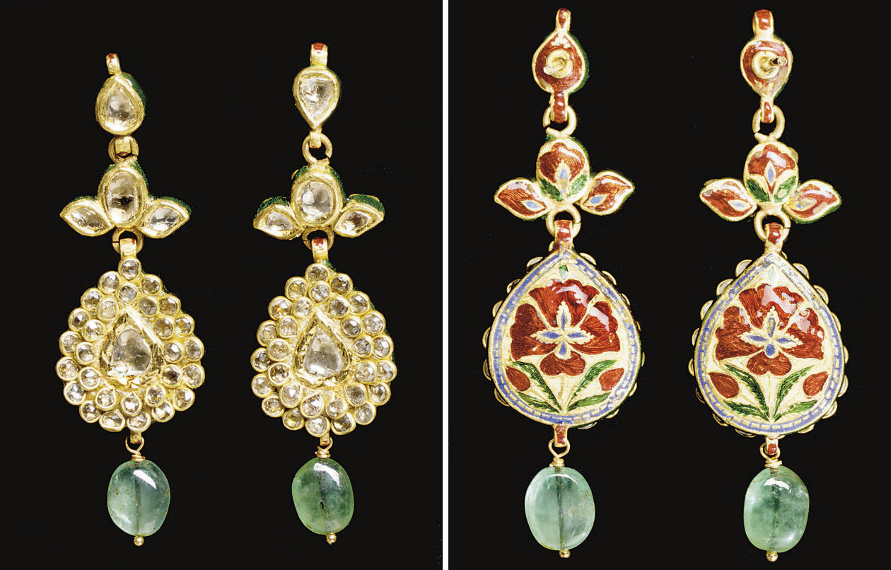 A PAIR OF DIAMOND AND EMERALD-