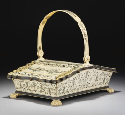 A MADRAS HORN AND IVORY BOX, 1