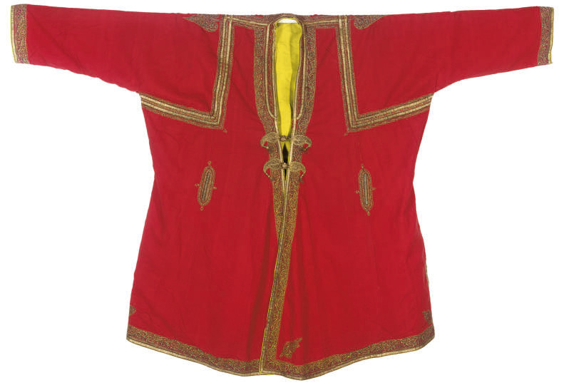 TWO SCARLET WOOL COATS, 19TH C