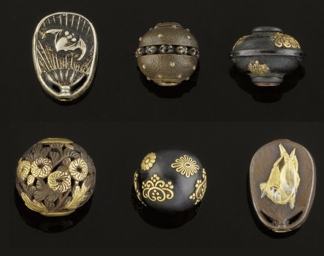 Six mixed metal ojime, 19th Ce