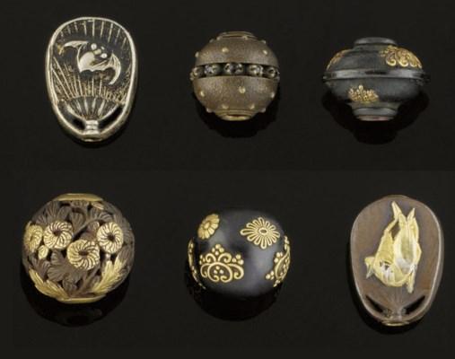 Six mixed metal ojime, 19th Ce