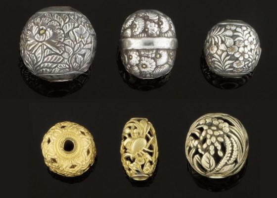 Six metal ojime, 19th Century