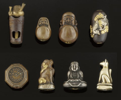 A Group of eight metal ojime,