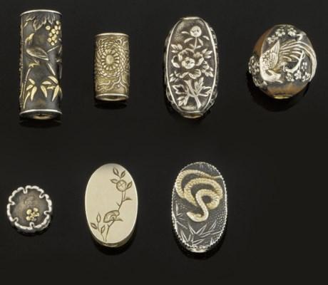 Seven various metal ojime, 19t