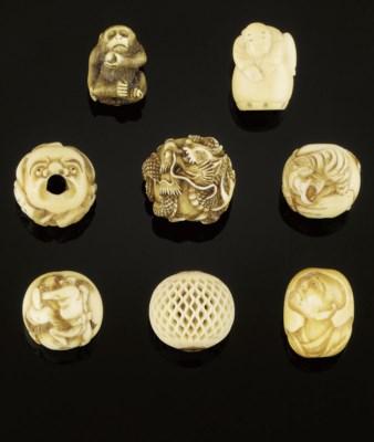 Eight ivory and bone ojime, 19