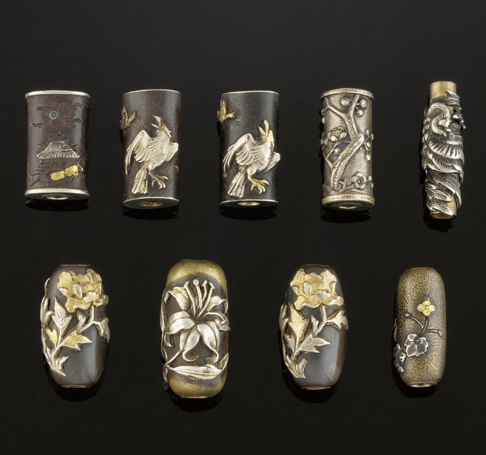 Nine metal ojime, 19th Century