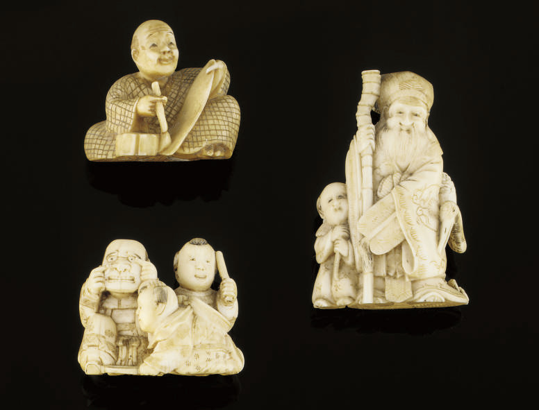 A Group of three ivory and mar