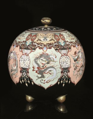 A large Cloisonne vase and cov