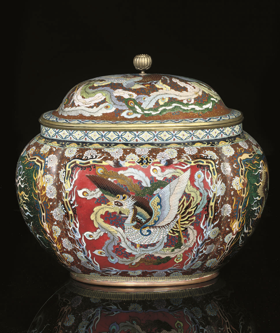 A Large oval cloisonne vase an
