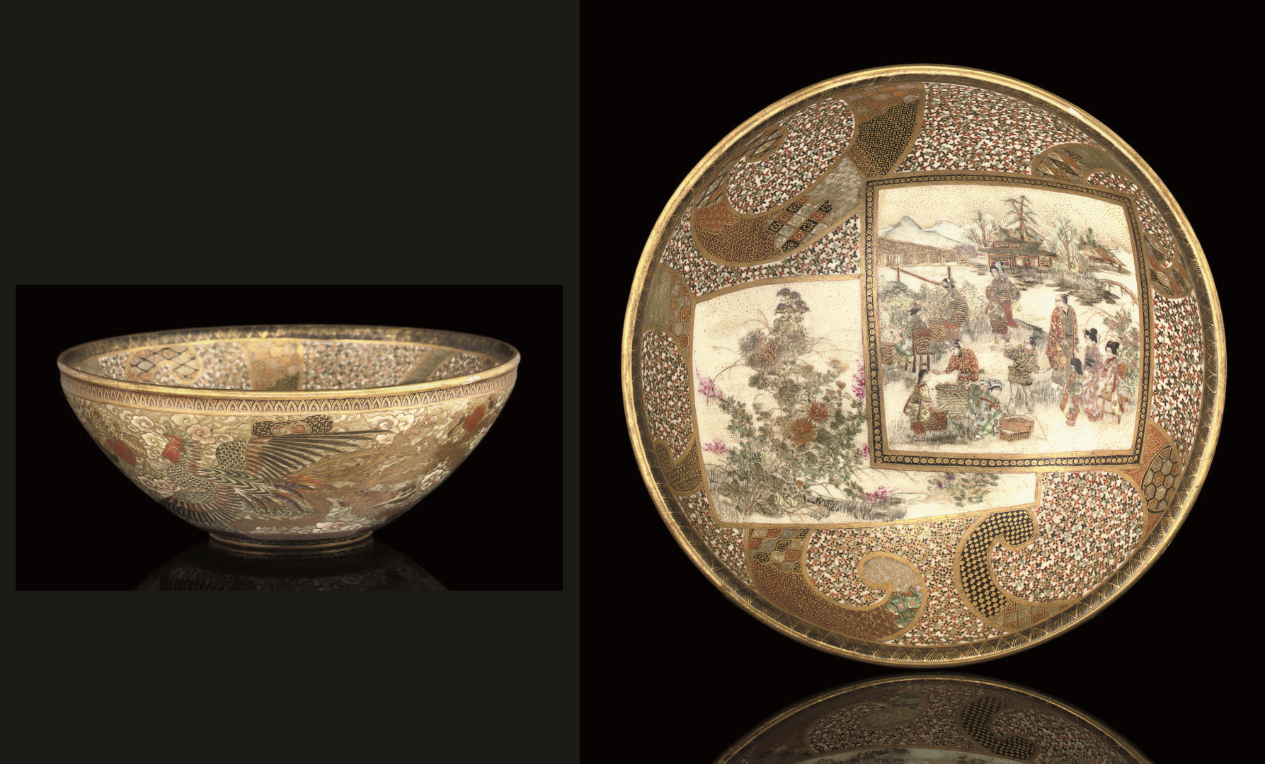 A Satsuma style bowl, signed M