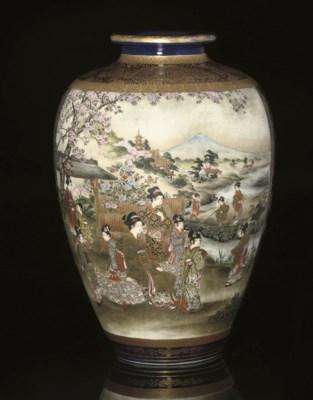 A Satsuma vase, signed Shuzan,