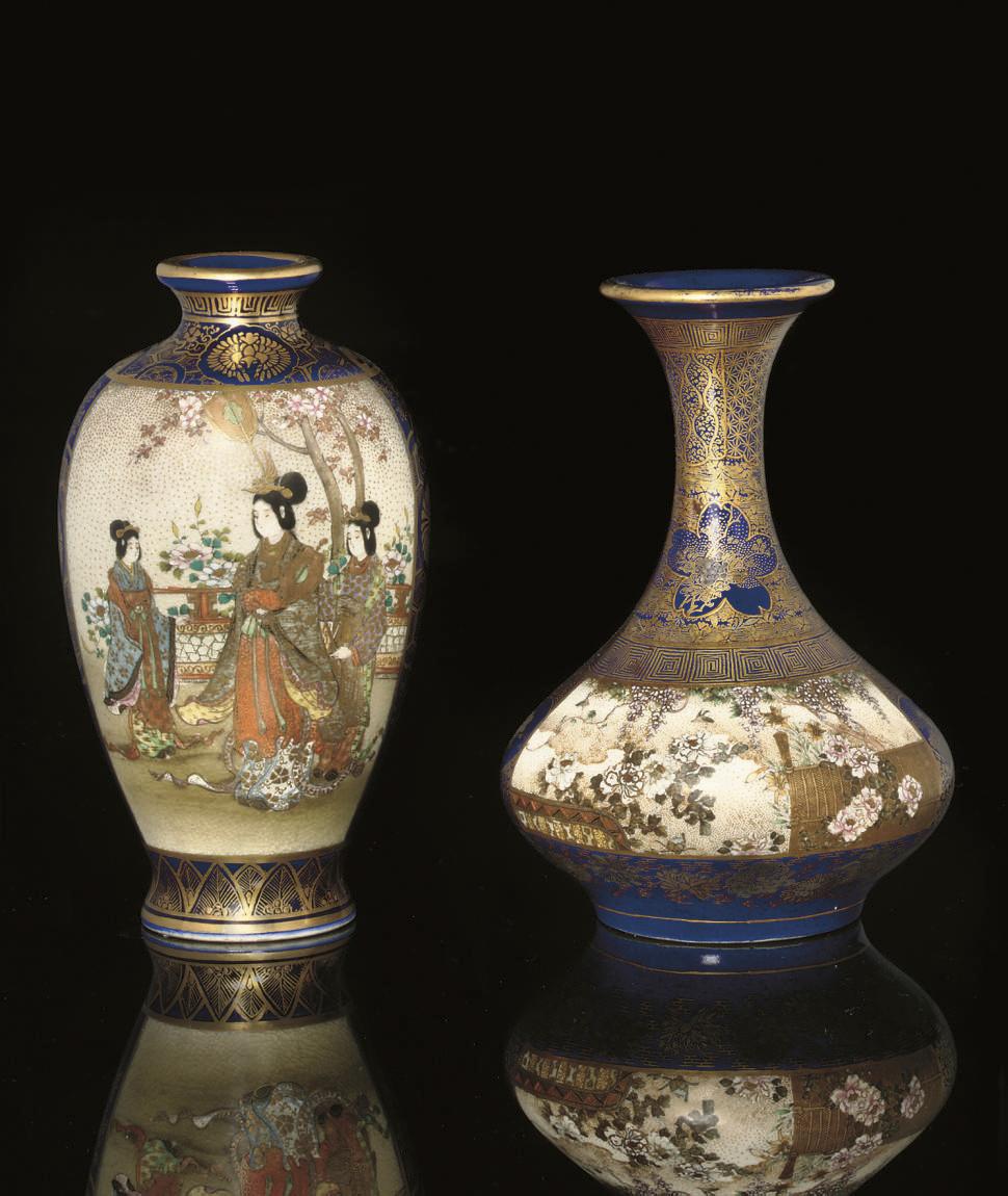 Two Satsuma vases, one signed