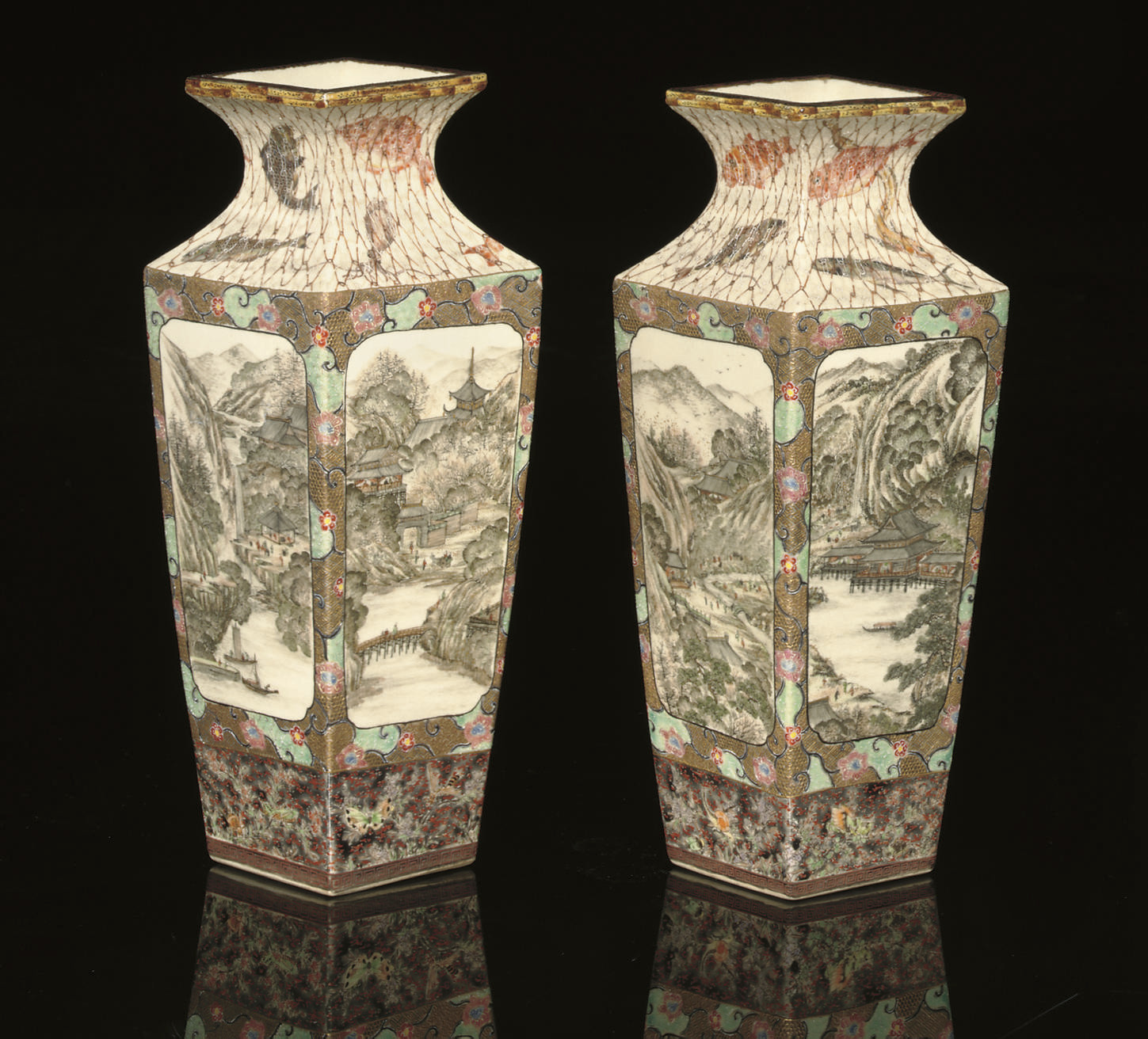 A pair of Satsuma vases, impre