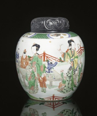 A Famille verte jar and wood c