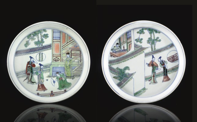 Two Doucai dishes depicting sc