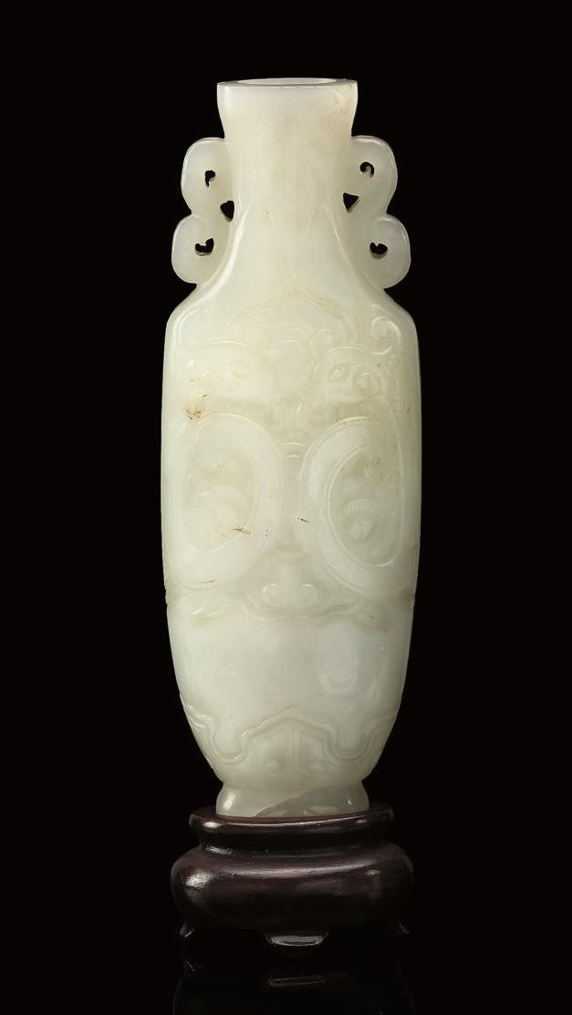 A Pale celadon jade vase, 19th