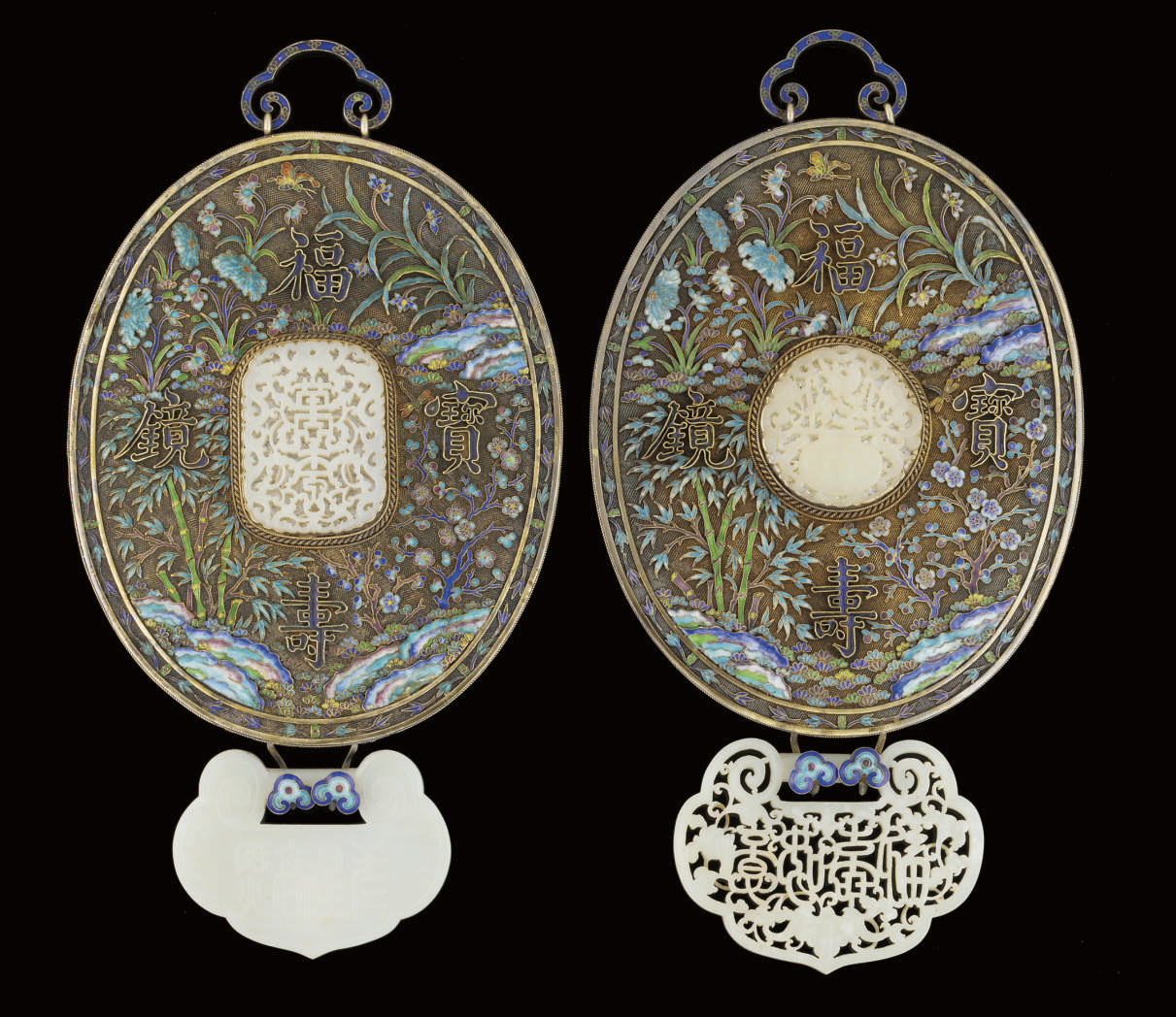 Two similar jade inset silver