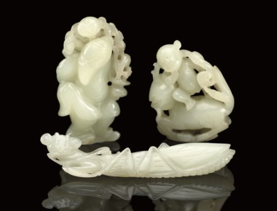 A group of three pale celadon