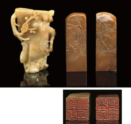 A selection of stone carvings,