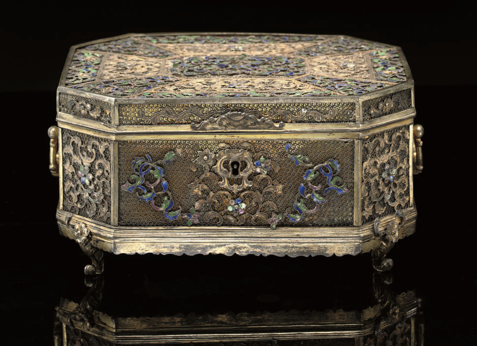 A silver-gilt filigree and ena