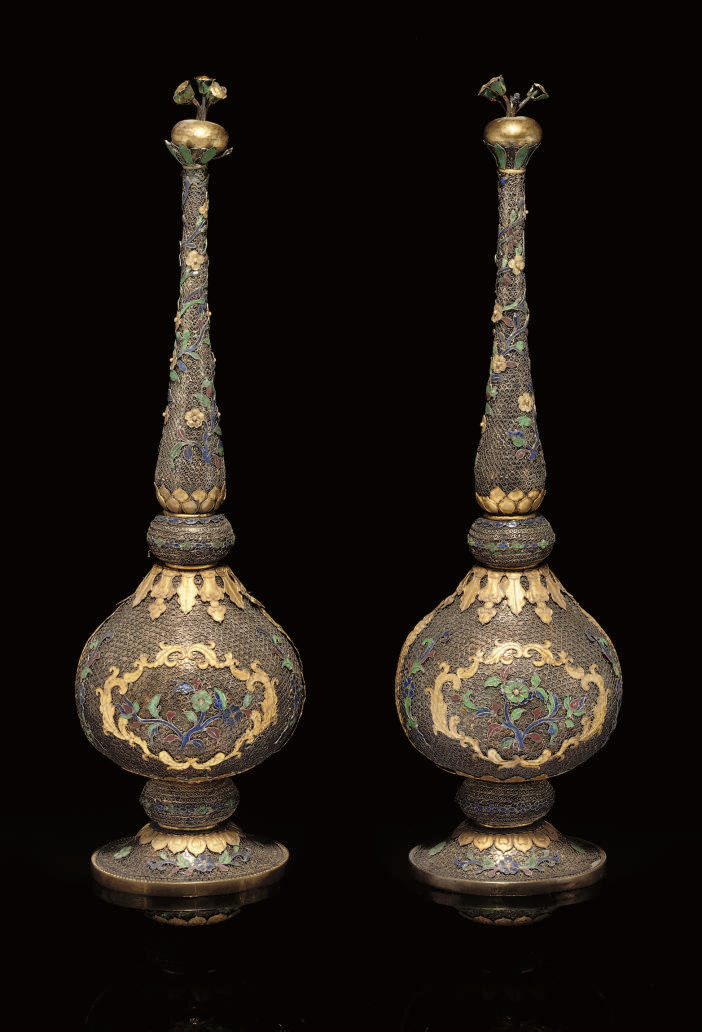 A pair of silver gilt filigree