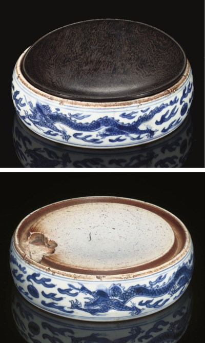 A blue and white porcelain ink